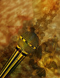 Vintage music background with microphone. Lips, notes and butterflies Stock Photos