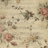 Vintage music background. Romantic vintage music background with flowers Stock Photos