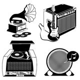 Vintage music black icons Stock Photography