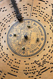 Vintage music box background. VILNIUS, LITHUANIA - MAY, 2014: Retro vintage Brevete music box paper disc with Paganini opus in May 11, 2014. Brevete issued a royalty free stock photography