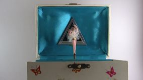 Vintage Music Box With Twirling Ballerina stock video footage