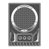 Vintage music concert audio loudspeaker template in monochrome style isolated vector illustration.  royalty free illustration