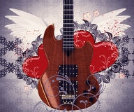 Vintage music guitar and hearts Stock Image