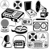 Vintage music icons 3. Vector outlined black illustration of different vintage music icons Stock Images