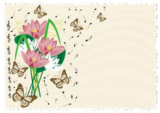 Vintage music notes background. With flowers and butterflies Stock Photography