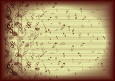 Vintage music notes background. With rainbow clef silhouette Royalty Free Stock Photo