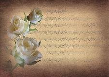 Vintage music notes with roses Royalty Free Stock Image