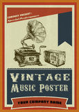 Vintage music poster with hand draw turntable and Royalty Free Stock Photos