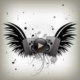 Vintage music wings stock illustration