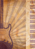 Vintage musical background. With guitar and piano Stock Photos
