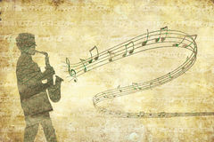 Vintage musical background with saxophonist Royalty Free Stock Photography
