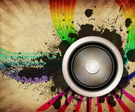 Vintage musical background with speaker Stock Photography