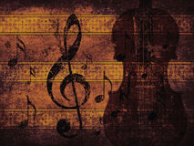 Vintage musical background with violin Stock Photo