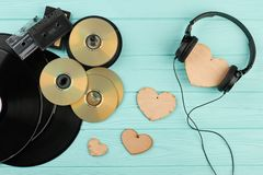 Vintage musical devices and wooden hearts.
