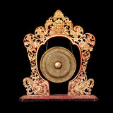 Vintage musical instrument - traditional Balinese Gong, isolated Stock Image