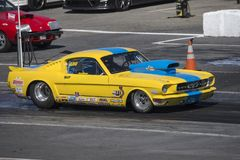 Vintage mustang drag car on the track Royalty Free Stock Photos