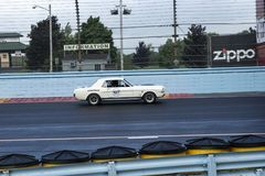 Vintage mustang on the race track Stock Photos