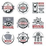 Vintage Mystical Spiritual Emblems Set. With inscriptions moon sandglass mystic symbols jewelry third eye tarot cards isolated vector illustration royalty free illustration
