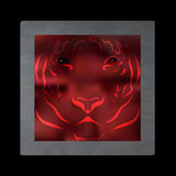 Vintage mystical tiger in scarlet colors on black background. Burgundy silk drape like blood. Vintage mystical picture tiger in scarlet colors on black stock illustration