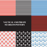 Vintage náutico e teste padrão sem emenda do pirata Imagens de Stock