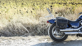 Vintage naked motorbike. Countryside location Royalty Free Stock Photo