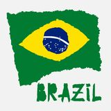 Vintage national flag of Brazil in torn paper grunge texture style. Independence day background. Isolated on white Good idea for r. Etro badge, banner, T-shirt vector illustration