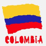 Vintage national flag of Colombia in torn paper grunge texture style. Independence day background. Isolated on white Good idea for. Retro badge, banner, T-shirt vector illustration