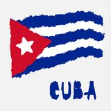Vintage national flag of Cuba in torn paper grunge texture style. Independence day background. Isolated on white Good idea for ret. Ro badge, banner, T-shirt royalty free illustration