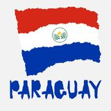 Vintage national flag of Paraguay in torn paper grunge texture style. Independence day background. Isolated on white Good idea for. Retro badge, banner, T-shirt stock illustration