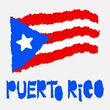 Vintage national flag of Puerto Rico in torn paper grunge texture style. Independence day background. Isolated on white Good idea. For retro badge, banner, T royalty free illustration