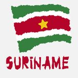 Vintage national flag of Suriname in torn paper grunge texture style. Independence day background. Isolated on white Good idea for. Retro badge, banner, T-shirt royalty free illustration