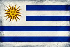 Vintage national flag of Uruguay background vector illustration