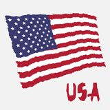 Vintage national flag of USA in torn paper grunge texture style. Independence day background. Isolated on white Good idea for retr. O badge, banner, T-shirt vector illustration