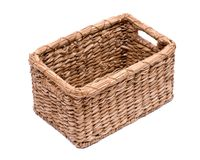Vintage natural rectangular seagrass handmade basket. Isolated on white background Stock Photo