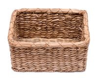 Vintage natural rectangular seagrass handmade basket. Isolated on white background Royalty Free Stock Photos