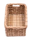 Vintage natural rectangular seagrass handmade basket. Isolated on white background Stock Photos