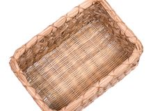 Vintage natural rectangular seagrass handmade basket. Isolated on white background Stock Photography