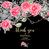 Vintage natural vector lace and camellia flowers Stock Images