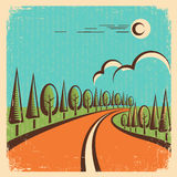 Vintage Nature landscape with road Stock Images