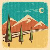 Vintage Nature landscape.Vector illustration Royalty Free Stock Photo
