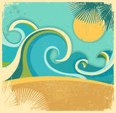 Vintage nature sea with waves and sun.Vector retro royalty free illustration