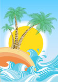 Vintage nature sea with waves and sun.Vector retro stock illustration