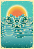 Vintage nature seascape background with sunlight o royalty free illustration