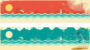 Vintage nature seascape banners with sea and palms Stock Photo