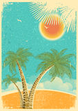 Vintage nature tropical island and sea background  Royalty Free Stock Images