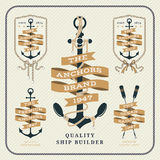 Vintage nautical anchor and ribbon labels set Stock Photo