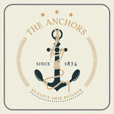 Vintage nautical anchor and tied rope label Royalty Free Stock Images