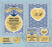 Vintage nautical anchor wedding invitation Royalty Free Stock Images