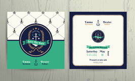 Vintage nautical anchor wreath wedding invitation card template Royalty Free Stock Photography