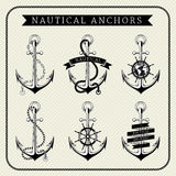 Vintage nautical anchors set label Royalty Free Stock Images